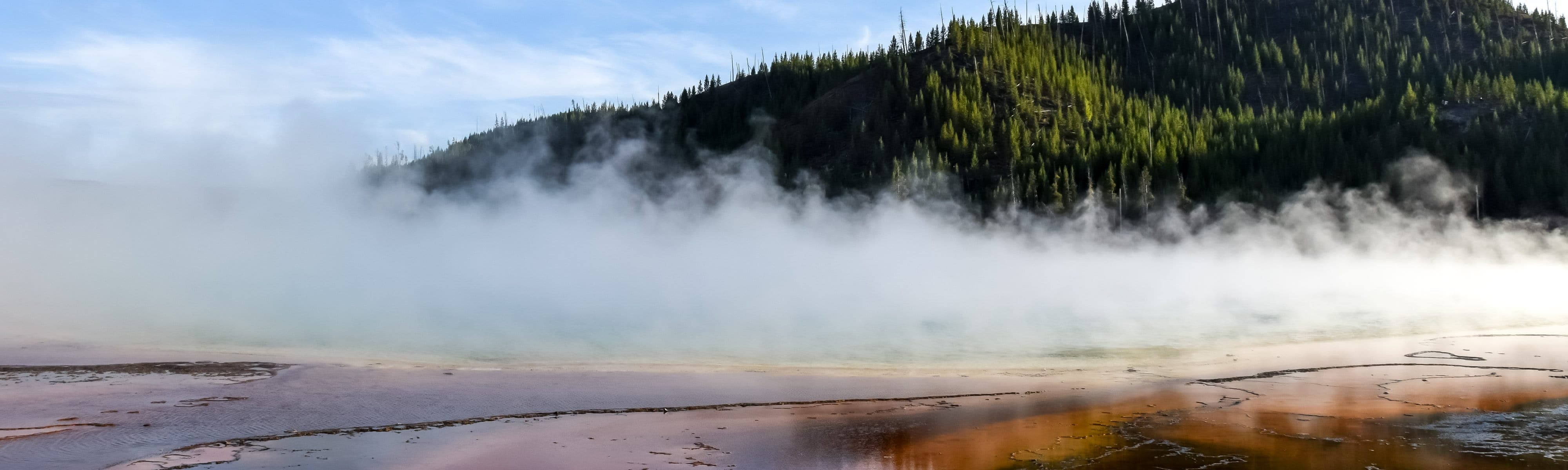 Geothermal steam coming from the earth.