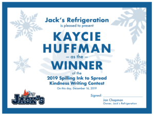Spilling Ink to Spread Kindness certificate from Jack's Refrigeration.