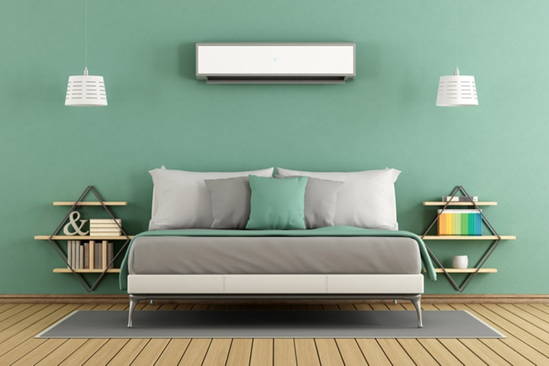 Green modern master bedroom with ductless air conditioner, Green modern master bedroom with ductless air conditioner, AC Maintenance Checklist | HVAC, Install, Repair | Kingsburg, CA